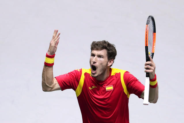 Spain's Pablo Carreno gestures during his match against Argentina's tennis player Guido Pella during their Davis Cup quarterfinal match in Madrid, Spain, Friday, Nov. 22, 2019. (AP Photo/Manu Fernandez)