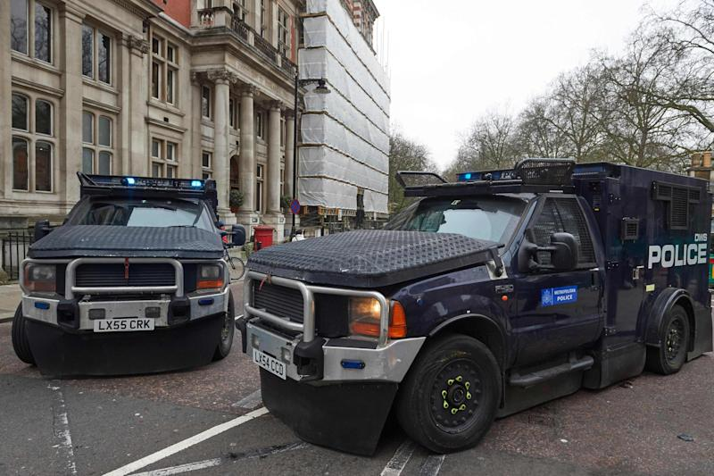 Bombproof: Two Jankel vehicles near Parliament: AFP/Getty Images