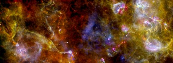 This new view of the Cygnus-X star-formation region by Europe's Herschel space observatory highlights chaotic networks of dust and gas that point to sites of massive star formation.