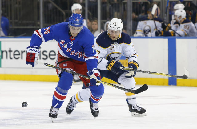 New York Rangers defenseman Brady Skjei (76) and Buffalo Sabres center Johan Larsson (22) battle for the puck during first period of an NHL hockey game, Saturday, March 24, 2018, in New York. (AP Photo/Noah K. Murray)