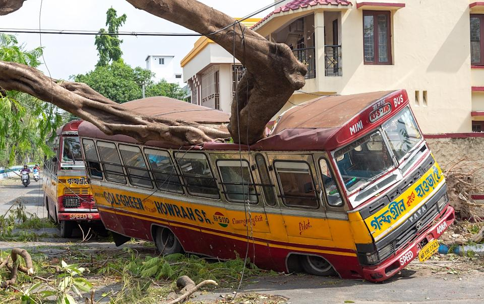Kolkata, West Bengal, India, May 20, 2020: Severe cyclonic storm damage aftermath with view of a public transport bus crushed by an uprooted tree on a city road at Kolkata, India