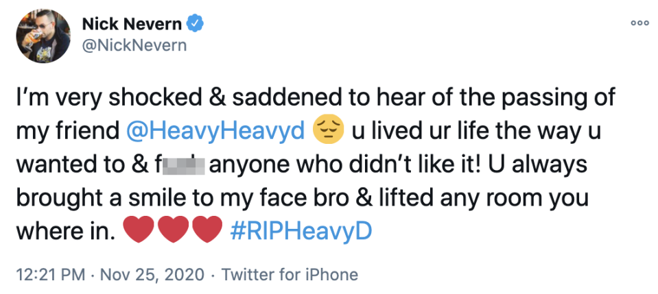Actor Nick Nevern tweeted the sad news. (Twitter/Nick Nevern)