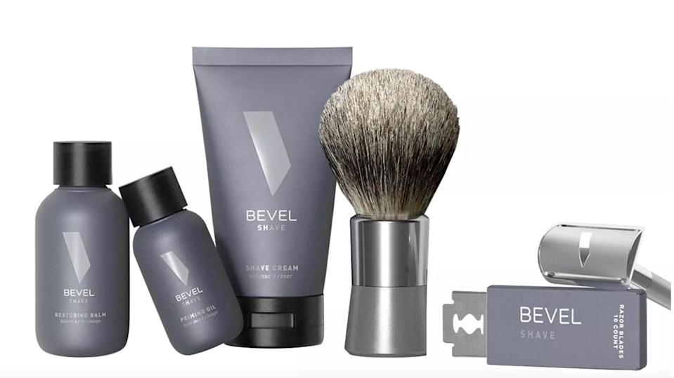<p>Upgrade his shave and grooming game with the <span>Bevel Men's Shave Starter Kit</span> ($90).</p>