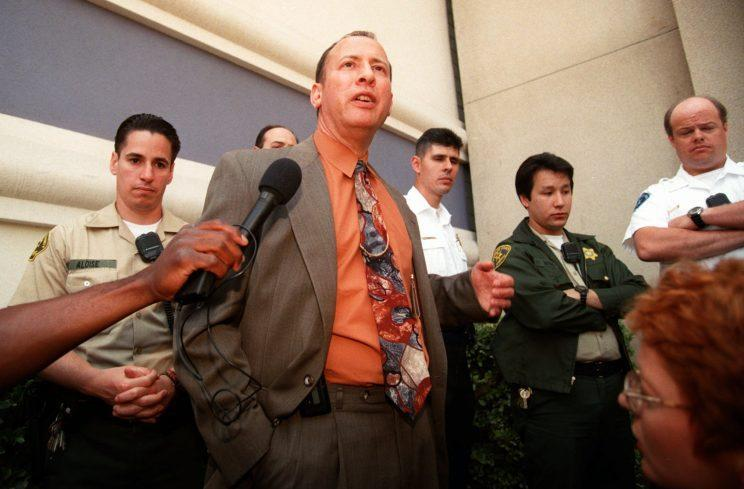 Deputy City Attorney Bill Sterling answers reporter's questions about the arrest of Atisone Seiuli, 20, a transsexual prostitute police arrested after being picked up by Eddie Murphy, during a news conference in L.A. on Friday, May 2, 1997. (Photo: AP Photo/Damian Dovarganes)