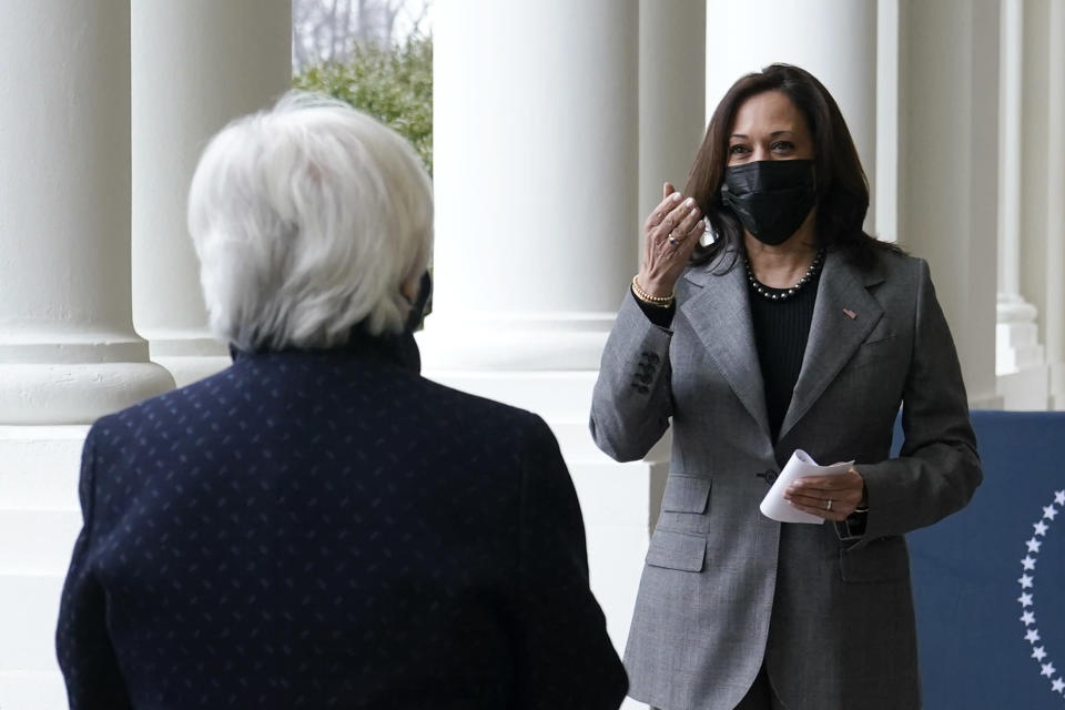 Vice President Kamala Harris arrives to participate in a swearing-in ceremony with Treasury Secretary Janet Yellen, left, Tuesday, Jan. 26, 2021, at the White House in Washington. (AP Photo/Patrick Semansky)