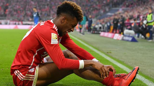 Kingsley Coman was hurt within moments of his introduction at Allianz Arena, where Bayern Munich played out a 0-0 stalemate Saturday.