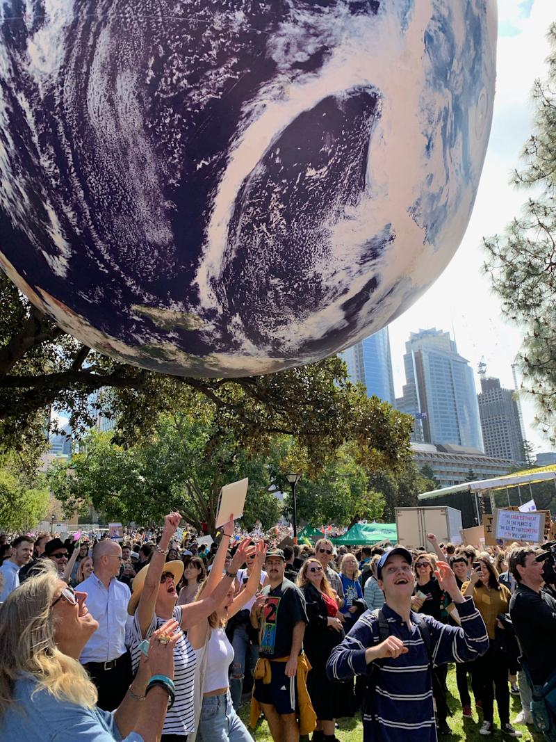 Protestors rallying in Sydney, where it was estimated that 100,000 people turned out. Source: Michael Dahlstrom