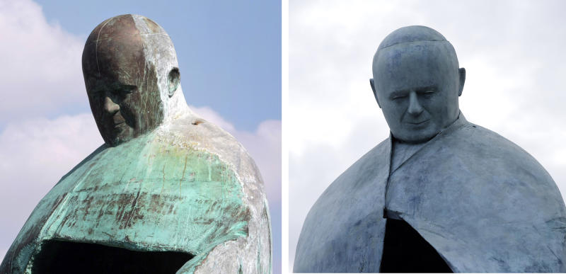 This combined picture shows Italian sculptor Oliviero Rainaldi's statue of Pope John Paul II before its restoration, left, on Sept. 23, 2011, and at its inauguration after the restoration, in Rome, Monday, Nov. 19, 2012. The city of Rome has inaugurated a revamped statue of Pope John Paul II after the first one was pilloried by the public and the Vatican. Artist Oliviero Rainaldi says he's pleased with the final product, saying it matches his original vision. He blamed foundry workers for a botched assemblage the first time around. The statue was restored after Rainaldi was pilloried by the Vatican for creating a sculpture of Pope John Paul II that some mockingly say looks more like Fascist dictator Benito Mussolini than the beloved late pontiff. (AP Photo/Gregorio Borgia)