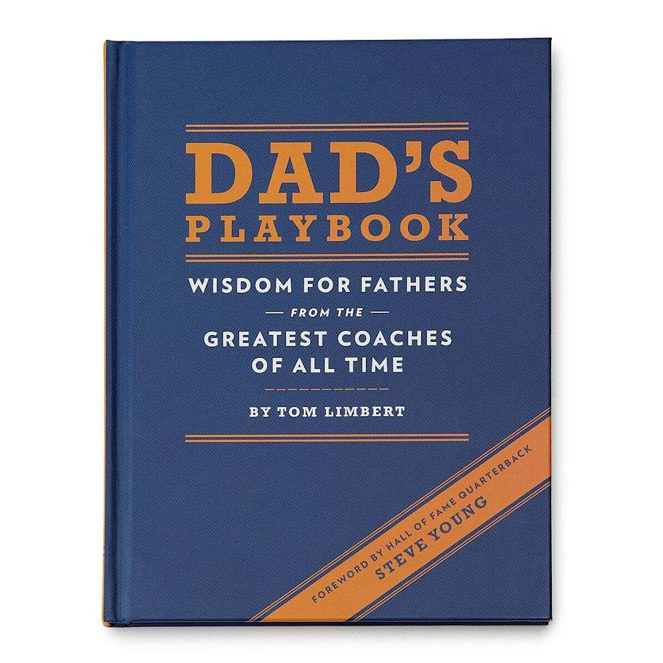 """<p><strong>UncommonGoods</strong></p><p>amazon.com</p><p><strong>$9.36</strong></p><p><a href=""""https://www.amazon.com/Dads-Playbook-Fathers-Greatest-Coaches/dp/1452102511/?tag=syn-yahoo-20&ascsubtag=%5Bartid%7C10070.g.27498054%5Bsrc%7Cyahoo-us"""" rel=""""nofollow noopener"""" target=""""_blank"""" data-ylk=""""slk:Shop Now"""" class=""""link rapid-noclick-resp"""">Shop Now</a></p><p>Every first-time dad is going to love getting advice from some of the best coaches to ever lead a team. This book is filled with inspiring quotes and hard-earned insights from dozens of sports' greatest coaches, with tips, tricks, and lessons on how to be a leader, how to thrive under pressure, and how to cultivate a true team spirit. </p>"""