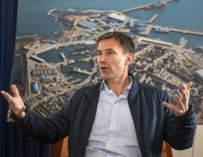 Conservative party leadership candidate Jeremy Hunt speaks during his visit to Peterhead in Scotland, Sunday June 23, 2019.  The two final contenders for leadership of Britain's ruling Conservative Party, Jeremy Hunt and Boris Johnson will be put to a vote of party members nationwide, with the winner due to replace Prime Minister Theresa May as party leader and prime minister.(Michal Wachucik/PA via AP)