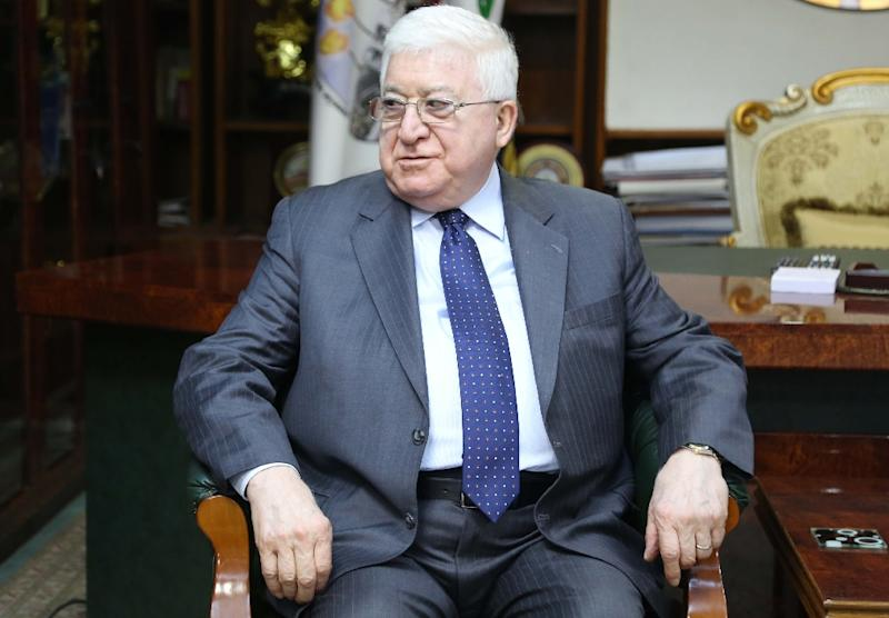 Iraqi President Fuad Masum, seen on on March 3, 2015, in Kirkuk, said Iraq's constitution should be amended rather than bypassed