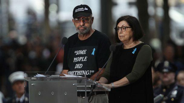 PHOTO: Nicholas Haros, who lost his mother Frances in the September 11, 2001 terrorist attacks, reads names at the National September 11 Memorial, Sept. 11, 2019, in New York City. (Spencer Platt/Getty Images, FILE)