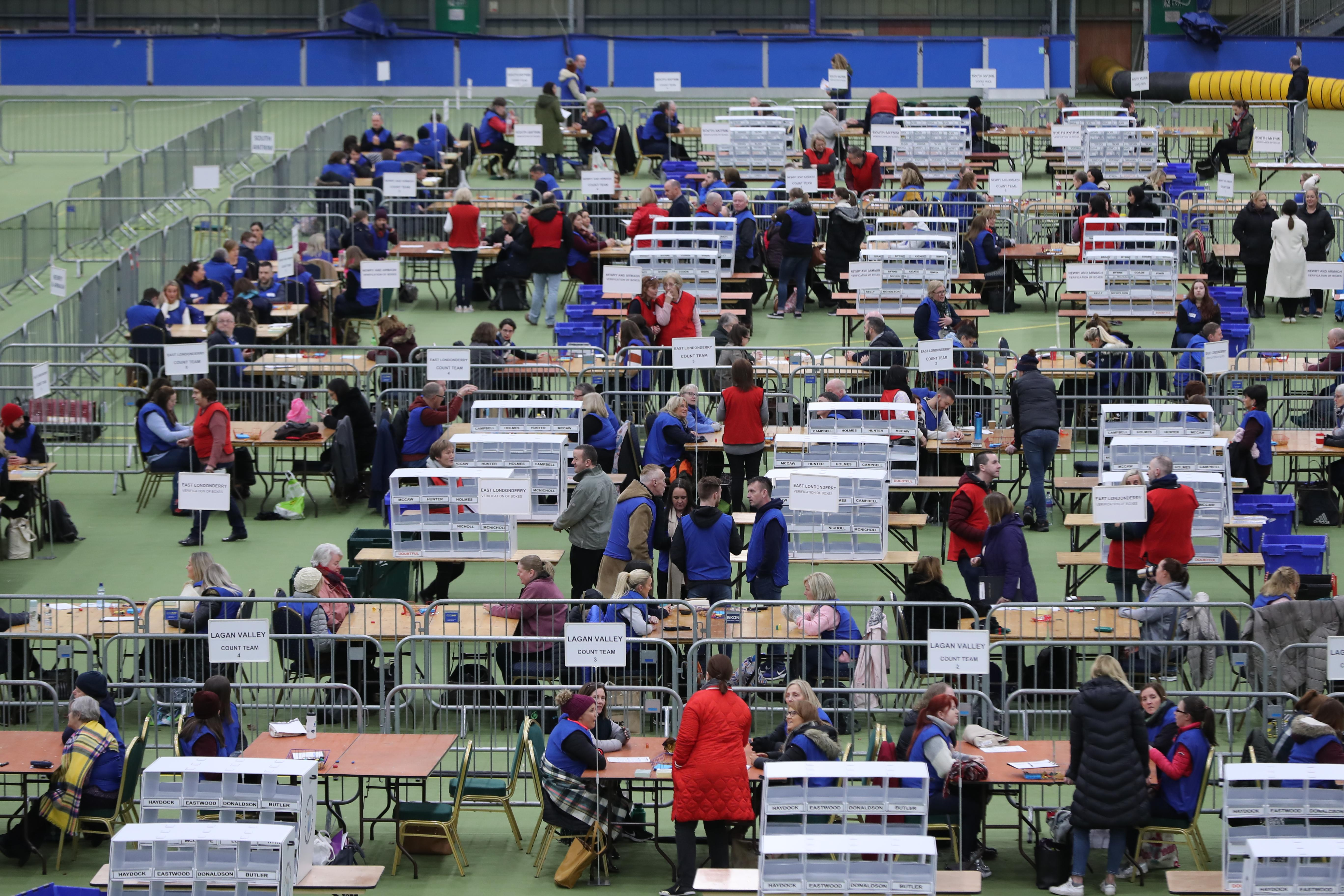 Ballots are counted at the Meadowbank Sports Arena, Magherafelt, for the 2019 General Election. (PA)