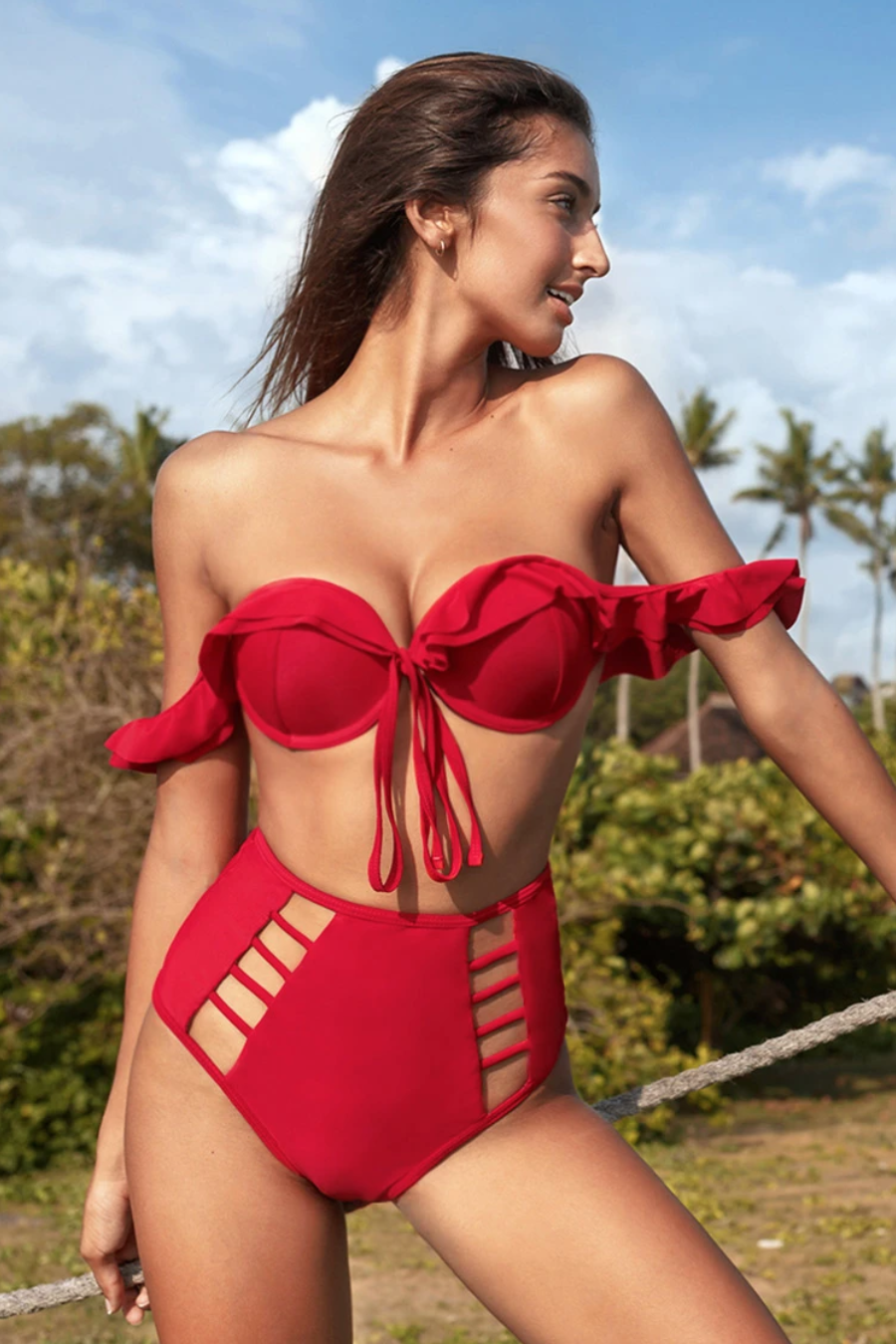 Red Ruffle High Waisted Bikini.