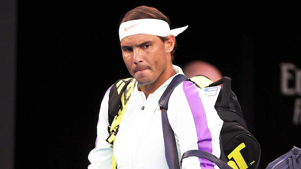 Rafa Nadal (pictured) walking out onto Rod Laver before a match at the Australian Open.
