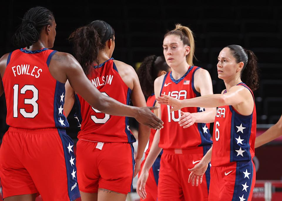 Sue Bird (6) andd Team USA beat Nigeria to open pursuit of their seventh straight Olympic women's basketball gold medal. (Photo by Gregory Shamus/Getty Images)