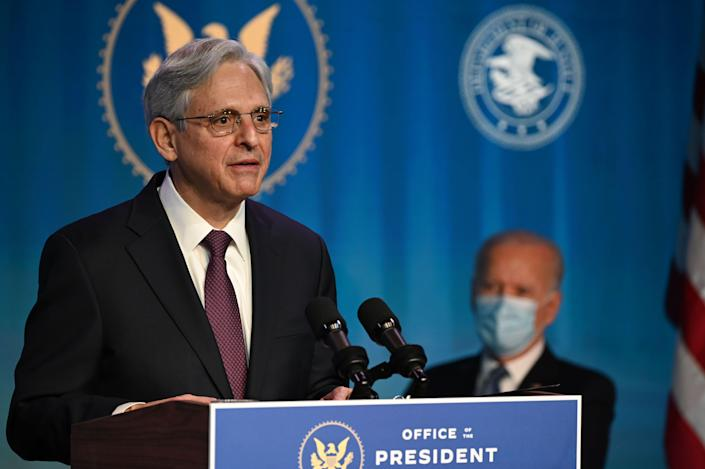 Judge Merrick Garland, who was nominated by President-elect Joe Biden to be attorney general, delivers remarks at The Queen theater Jan. 7, 2021 in Wilmington, Delaware.