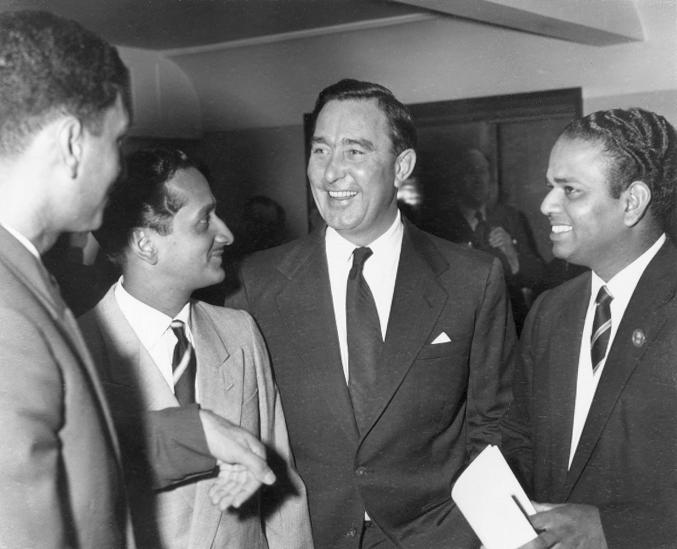 21st April 1959:  CHECK HI-RES IF SUPPLYING DIGITALLY Three members of the touring Indian Cricket team chat to England's Denis Compton (1918 - 1997) during the British Sportsman's Luncheon held at the Savoy. They are from left to right, Polly Umrigar, the captain Dattajirao Gaekwad and Vijay Manjrekar (19314 - 1983).  (Photo by Keystone/Getty Images)