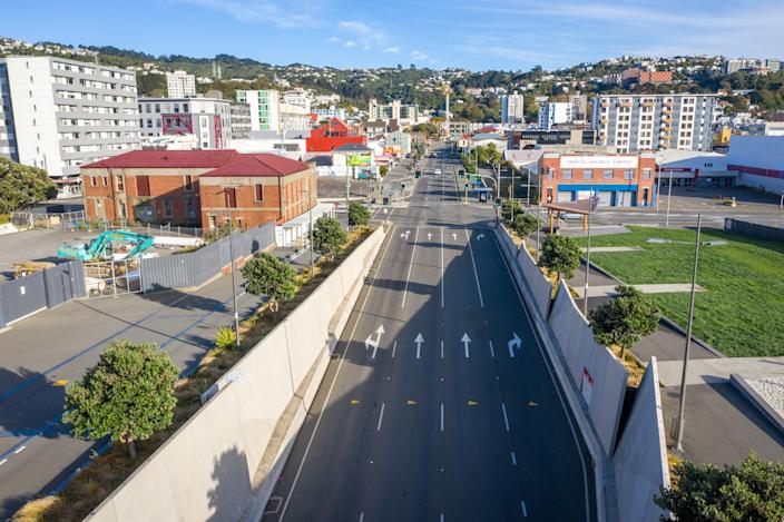 State Highway 1 in Wellington, New Zealand is nearly empty due to Level 4 lockdown on April 21, 2020. New Zealand will partially relax nationwide lockdown restrictions in a week as the decline in new coronavirus cases indicates its strategy of elimination is working.