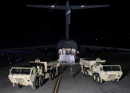 Terminal High Altitude Area Defense (THAAD) interceptors arrive at Osan Air Base in Pyeongtaek,