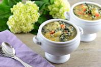 """Photo: Girl Makes Food<br> Vegan Kale and Lentil Soup<br><br> Girl Makes Food shows us how simple (and delicious) a cleanse can be. After only a few days of eating simple whole foods, like this soup, her stomach already felt flatter. <br><br> Recipe: <a href=""""http://www.girlmakesfood.com/kale-and-lentil-soup/"""" rel=""""nofollow noopener"""" target=""""_blank"""" data-ylk=""""slk:Vegan Kale and Lentil Soup"""" class=""""link rapid-noclick-resp"""">Vegan Kale and Lentil Soup</a>"""