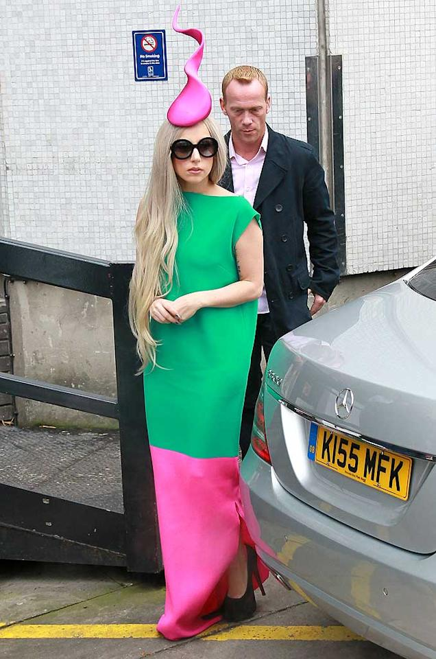 """If you've got it in you to look at one more crazy Lady Gaga hat, well, here it is. The """"Bad Romance"""" singer donned the wacky outfit while in London on Wednesday. (11/18/2011)"""