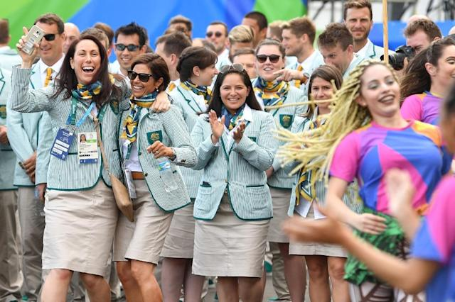 Members of Australia's Olympic team attend a welcoming ceremony at the Athletes' Village ahead of the Rio 2016 Olympic Games in Rio de Janeiro on August 3, 2016 (AFP Photo/Andrej Isakovic)