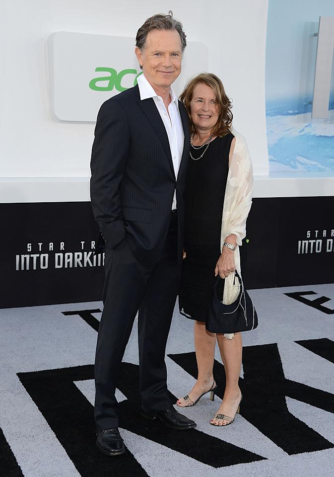 "HOLLYWOOD, CA - MAY 14:  Actor Bruce Greenwood and wife Susan Devlin attend the premiere of Paramount Pictures' ""Star Trek Into Darkness"" at Dolby Theatre on May 14, 2013 in Hollywood, California.  (Photo by Jason Kempin/Getty Images)"