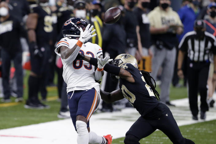 Chicago Bears wide receiver Javon Wims (83) caught this pass, but dropped a big one shortly after. (AP Photo/Butch Dill)