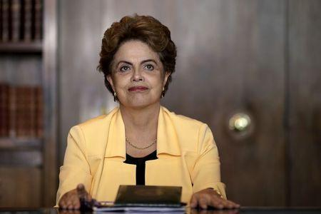 Brazil's President Dilma Rousseff looks on during a meeting with mayors at the Alvorada Palace in Brasilia