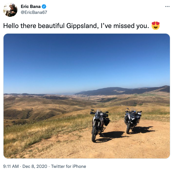 A photo of two motorcycles on a hill in Gippsland, Victoria taken by Australian actor Eric Bana