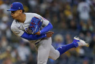 Chicago Cubs starting pitcher Adbert Alzolay works against a San Diego Padres batter during the first inning of a baseball game Monday, June 7, 2021, in San Diego. (AP Photo/Gregory Bull)