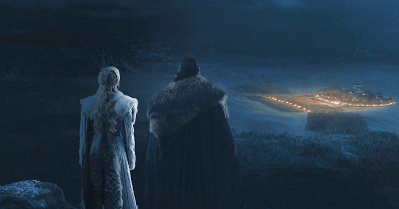 Jon Snow and Daenerys Targaryen overlooking the Battle of Winterfell on HBO's Game of Thrones.
