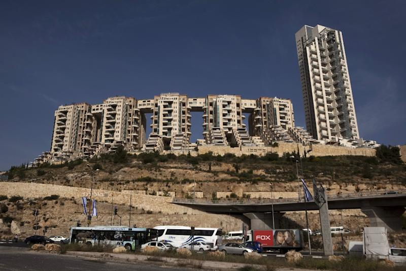Olmert was convicted of taking bribes of 560,000 shekels while Jerusalem mayor from developers of the city's Holyland apartment complex, seen here in 2010 (AFP Photo/Menahem Kahana)