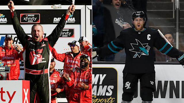 Annett, who picked up his first career Xfinity Series win at Daytona in February, played with the Sharks captain in 2003-04.