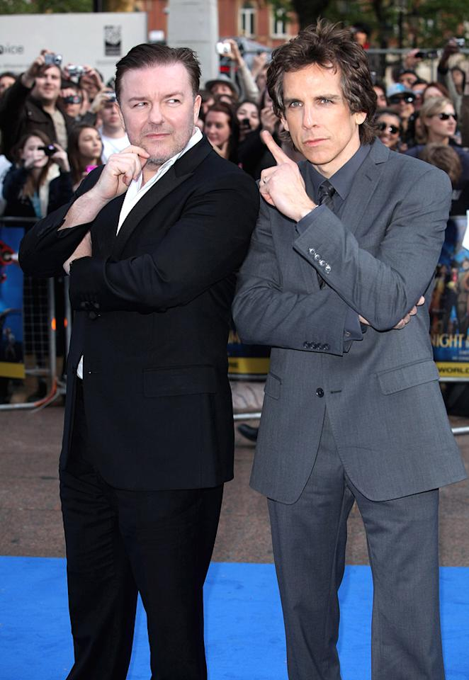 """<a href=""""http://movies.yahoo.com/movie/contributor/1808438269"""">Ricky Gervais</a> and <a href=""""http://movies.yahoo.com/movie/contributor/1800019193"""">Ben Stiller</a> at the London premiere of <a href=""""http://movies.yahoo.com/movie/1810028001/info"""">Night at the Museum: Battle of the Smithsonian</a> - 05/12/2009"""