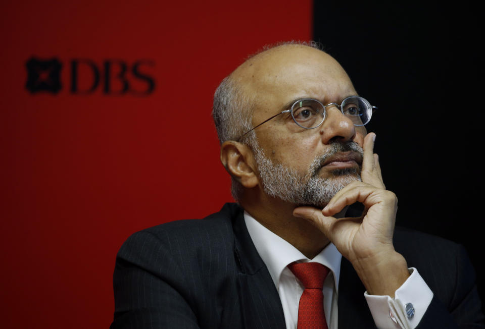 DBS Chief Executive Officer Piyush Gupta listens during their fourth quarter earnings announcement in Singapore February 22, 2016. DBS Group Holdings, Singapore's biggest lender, posted a 20 percent rise in quarterly profit that beat expectations, as its net interest margin rose to a five-year high. REUTERS/Edgar Su