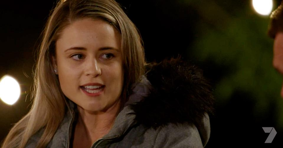Farmer Wants A Wife's Lucy has spoken out for the first time since the kissing controversy that had her eliminated from the show. Photo: Seven