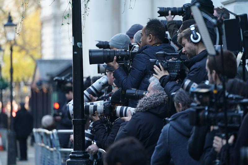 Photographers and journalists gather in Downing Street, London, minutes before Philip Hammond, the Chancellor of the Exchequer emerged to go to the House of Commons to deliver his Budget. Photo date: Wednesday, November 22, 2017. Photo credit should read: Richard Gray/EMPICS Entertainment