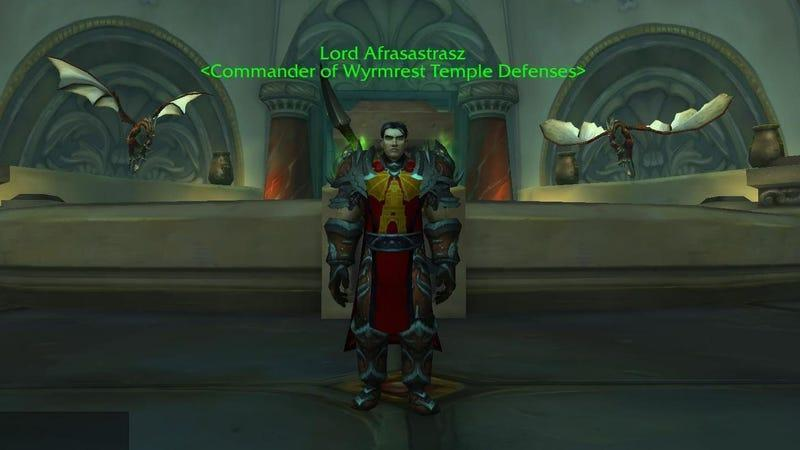 Image of human male in World of Warcraft with the name Lord Afrasastrasz, a reference to Alex Afrasiabi.