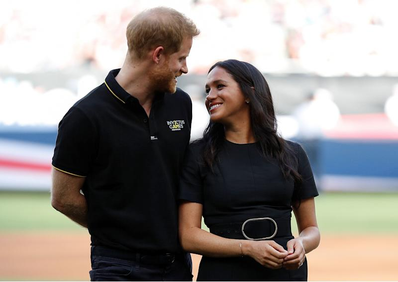 Harry and Meghan attend the Boston Red Sox v. New York Yankees match in London on June 29.  (Photo: Peter Nicholls / Reuters)
