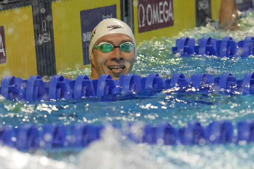 Ryan Murphy reacts ater winning the men's 200 backstroke during wave 2 of the U.S. Olympic Swim Trials on Friday, June 18, 2021, in Omaha, Neb. (AP Photo/Jeff Roberson)