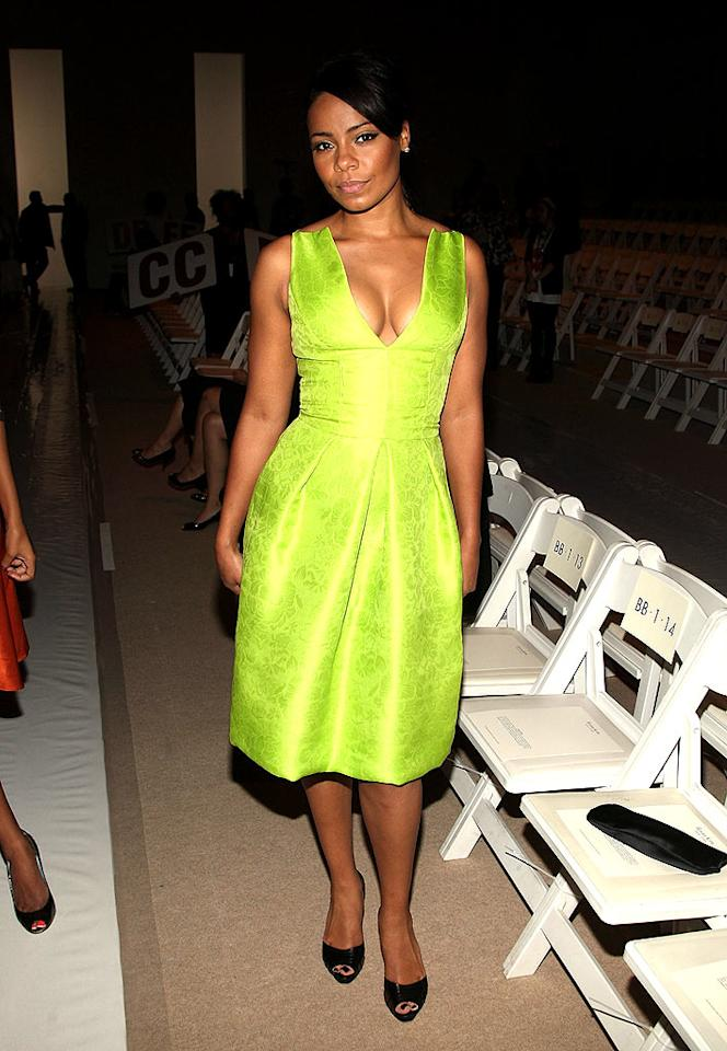 "Sanaa Lathan stood out at the Reem Acra show in this fluorescent frock. Stephen Lovekin/<a href=""http://www.gettyimages.com/"" target=""new"">GettyImages.com</a> - September 7, 2008"