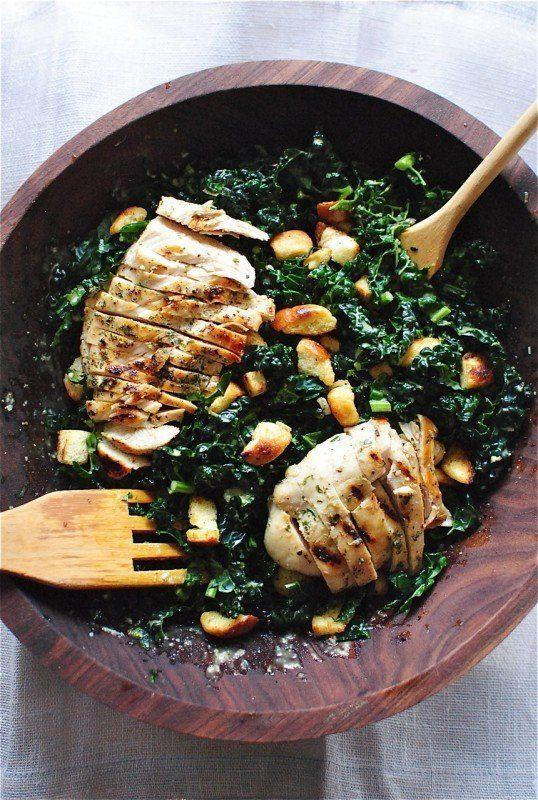 "<strong>Get the <a href=""http://bevcooks.com/2015/02/kale-caesar-salad-with-grilled-chicken/"" target=""_blank"">Grilled Chicken Kale Caesar Salad recipe</a> from Bev Cooks</strong>"