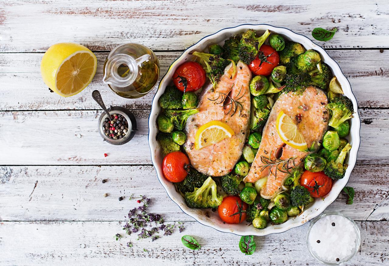 """<p>Salmon and other fatty fish such as sardines and mackerel are the superstars of heart-healthy foods. That's because they contain copious amounts of omega-3 fatty acids, shown in studies to lower the risk of <a href=""""https://www.health.com/arrhythmia"""">arrhythmia</a> (irregular heart beat) and <a href=""""https://www.health.com/health/gallery/0,,20307165,00.html"""">atherosclerosis</a> (plaque build-up in the arteries) and decrease triglycerides. The <a href=""""http://www.heart.org/HEARTORG/HealthyLiving/HealthyEating/HealthyDietGoals/Fish-and-Omega-3-Fatty-Acids_UCM_303248_Article.jsp"""" target=""""_blank"""">American Heart Association</a> recommends eating fish and preferably fatty fish at least twice a week, but you can also get omega-3-rich fish oils as dietary supplements, though they may not have the DHA and EPA omega-3s specifically found in fatty fish. </p> <p><strong>RELATED: <a href=""""https://www.health.com/syndication/is-sushi-healthy"""">Is Sushi Healthy? Here's Everything You Need to Know</a></strong></p>"""