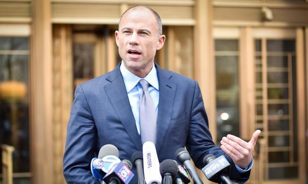 Michael Avenatti outside the Daniel P. Moynihan Courthouse in Manhattan after an April hearing. Photo: David Handschuh/NYLJ