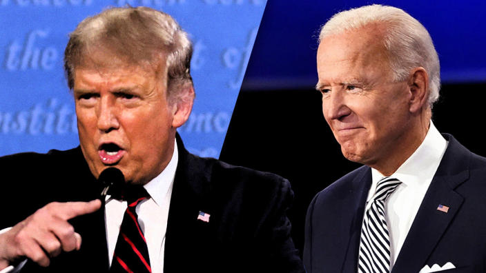 President Trump and Joe Biden at the first presidential debate on Sept. 29, 2020, in Cleveland, Ohio. (Photo illustration: Yahoo News; photos: Brian Snyder/Reuters, Julio Cortez/AP)