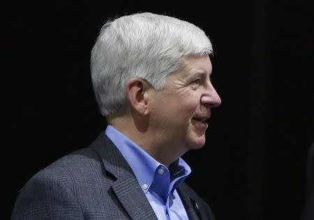 Michigan Governor Rick Snyder speaks during the official launch of VLF Automotive at the North American International Auto Show in Detroit, in this January 12, 2016 file photo.   REUTERS/Gary Cameron/Files