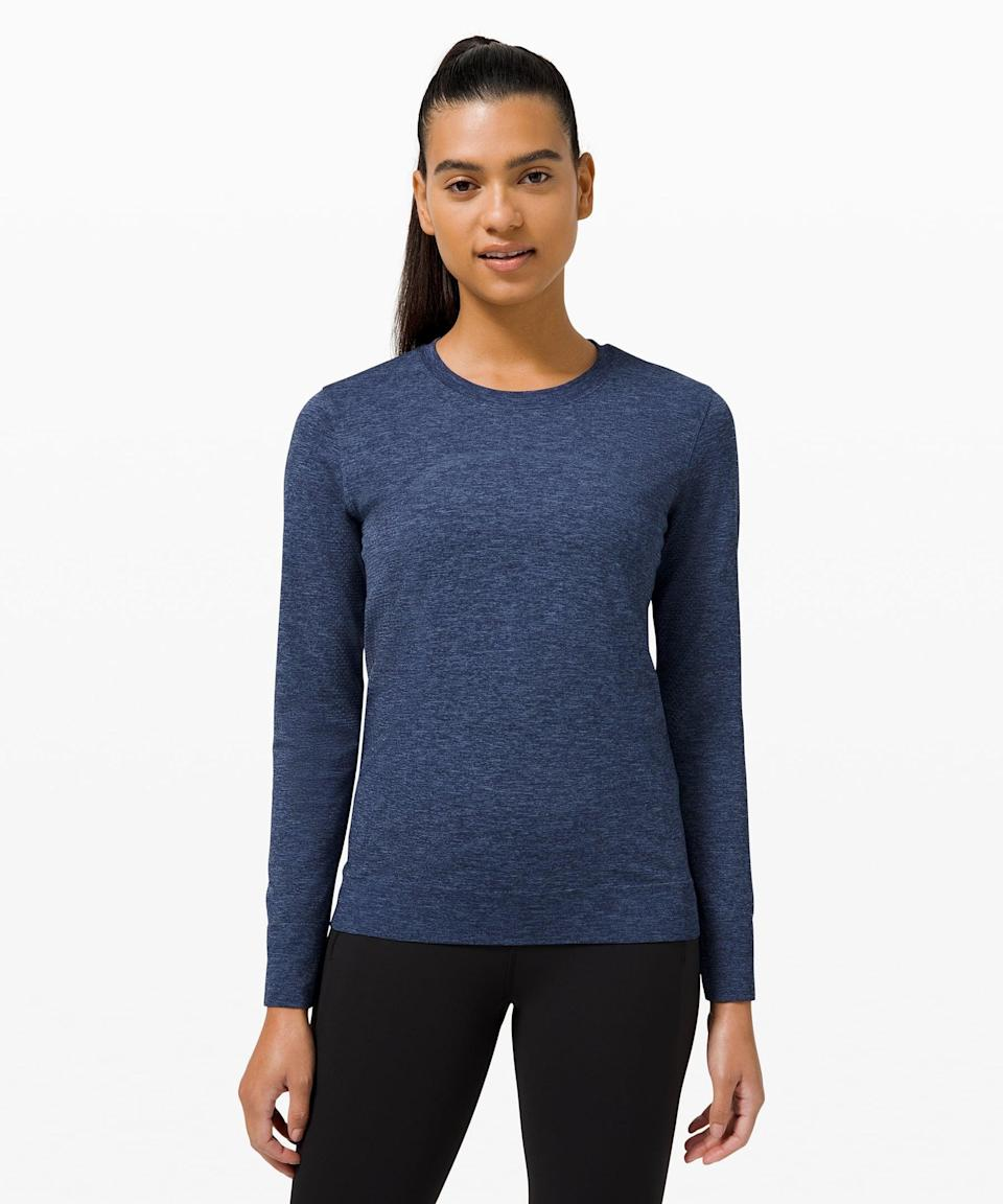 <p>If you need a warmup or cooldown layer, go for this <span>Lululemon Swiftly Breathe Long Sleeve</span> ($78). It is breathable and will keep you comfortable no matter what happens with the weather.</p>