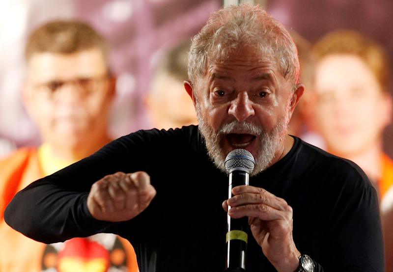 Former Brazilian President Luiz Inacio Lula da Silva speaks during a rally in Curitiba, Brazil, March 28, 2018. REUTERS/Rodolfo Buhrer